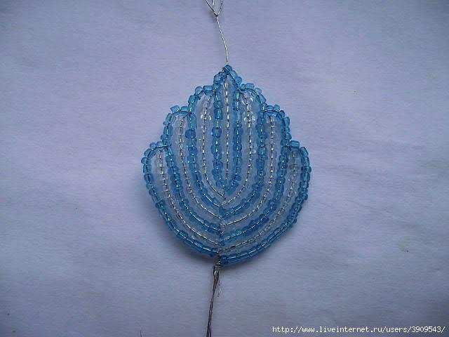 Голубой цветок из бисера от Оксаны Домаш.